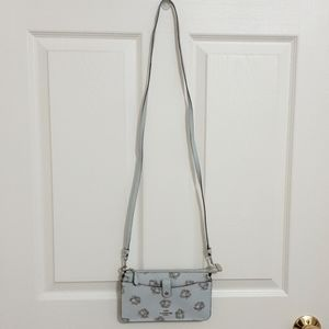 Coach Dinky Glitter Rose Print Sky/Silver Leather